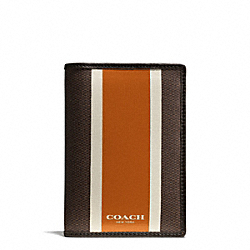 COACH COACH HERITAGE CHECK PASSPORT CASE - ESPRESSO/ORANGE - F93396