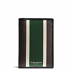 COACH COACH HERITAGE CHECK PASSPORT CASE - ESPRESSO/GREEN - F93396