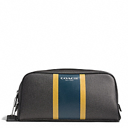 COACH COACH HERITAGE CHECK TRAVEL KIT - CHARCOAL/MARINE - F93397