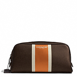 COACH COACH HERITAGE CHECK TRAVEL KIT - ESPRESSO/ORANGE - F93397