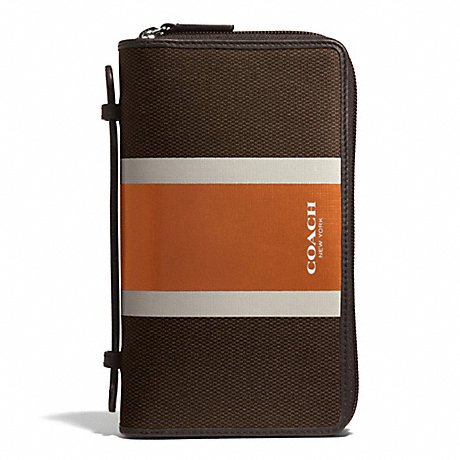 COACH COACH HERITAGE CHECK DOUBLE ZIP TRAVEL ORGANIZER - ESPRESSO/ORANGE - f93398