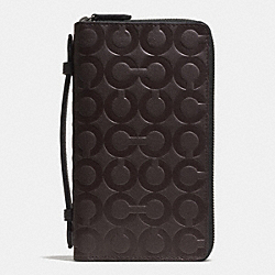 COACH DOUBLE ZIP TRAVEL ORGANIZER IN OP ART EMBOSSED LEATHER - MAHOGANY - F93401
