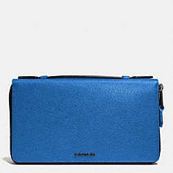 DOUBLE ZIP TRAVEL ORGANIZER IN LEATHER - f93418 -  COBALT
