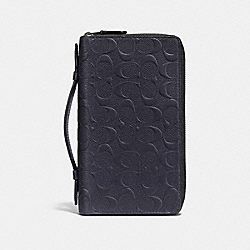 DOUBLE ZIP TRAVEL ORGANIZER IN SIGNATURE LEATHER - MIDNIGHT - COACH F93425