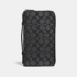 DOUBLE ZIP TRAVEL ORGANIZER IN SIGNATURE CANVAS - CHARCOAL - COACH F93430