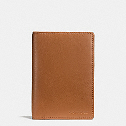 COACH PASSPORT CASE IN LEATHER - SADDLE - F93451