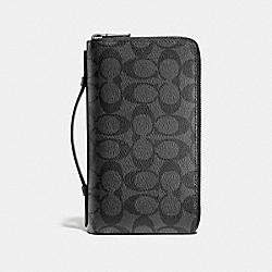 COACH DOUBLE ZIP TRAVEL ORGANIZER IN SIGNATURE - CHARCOAL/BLACK - F93504