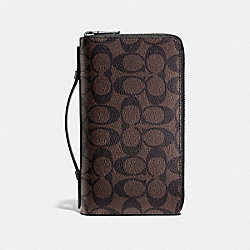 DOUBLE ZIP TRAVEL ORGANIZER IN SIGNATURE - f93504 - MAHOGANY/BROWN