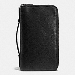 DOUBLE ZIP TRAVEL ORGANIZER IN CROSSGRAIN LEATHER - f93509 - BLACK