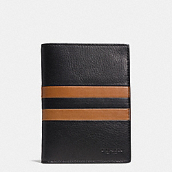 COACH MODERN VARSITY STRIPE PASSPORT CASE IN SPORT CALF LEATHER - BLACK/SADDLE - F93543
