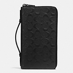 DOUBLE ZIP TRAVEL ORGANIZER IN SIGNATURE CROSSGRAIN LEATHER - BLACK - COACH F93592