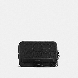 COACH POUCHETTE IN SIGNATURE CROSSGRAIN LEATHER - BLACK - F93598