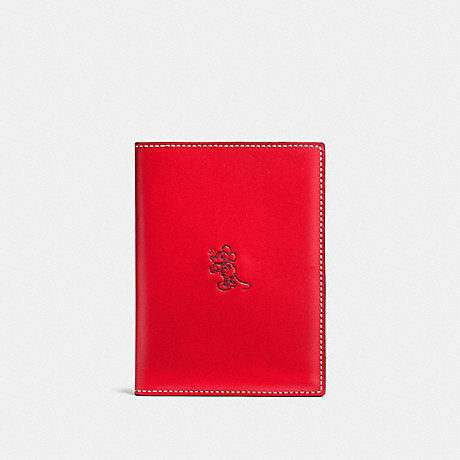 COACH MICKEY PASSPORT CASE - RED - F93600