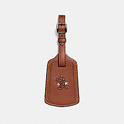 MICKEY LUGGAGE TAG IN GLOVETANNED LEATHER - f93601 - DARK SADDLE