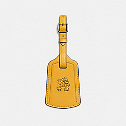 MICKEY LUGGAGE TAG IN GLOVETANNED LEATHER - f93601 - FLAX