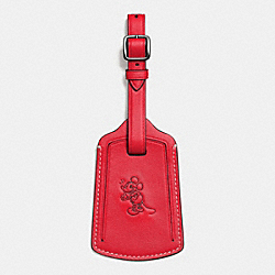 MICKEY LUGGAGE TAG IN GLOVETANNED LEATHER - f93601 - RED
