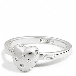 STERLING PAVE HEART SCRIPT RING COACH F94009