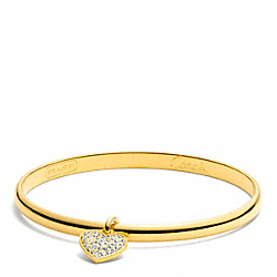 THIN PAVE HEART DANGLE BANGLE - f94024 - GOLD/GOLD