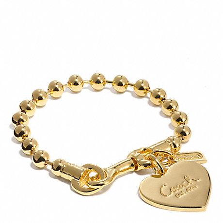 COACH BALL CHAIN HEART CHARM BRACELET - GOLD/GOLD - f94025
