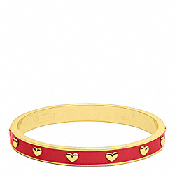 COACH QUARTER INCH NAIL HEAD BANGLE - GOLD/RED - F94026