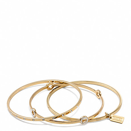 COACH PAVE BANGLE SET - GOLD/CLEAR - f94059