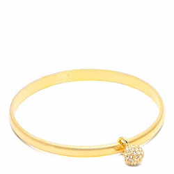 THIN PAVE BALL DANGLE BANGLE - f94074 - GOLD/GOLD