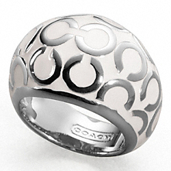 OP ART ENAMEL DOMED RING - SILVER/WHITE - COACH F94428