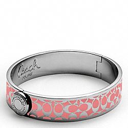 COACH HALF INCH HINGED SIGNATURE BANGLE - SILVER/CORAL - F94613