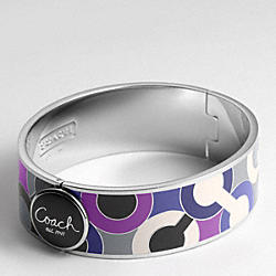 THREE QUARTER INCH HINGED OP ART BANGLE COACH F94749
