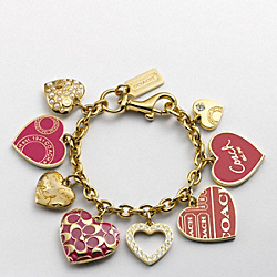COACH MIRANDA MULTI HEART CHARM BRACELET - ONE COLOR - F94804