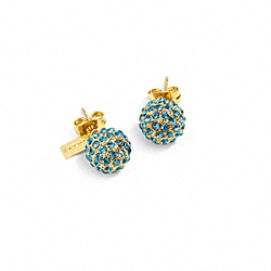 COACH HOLIDAY PAVE STUD EARRINGS - GOLD/TURQUOISE - F95252