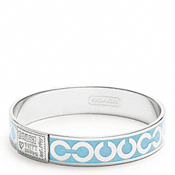 COACH HALF INCH OP ART GLITTER BANGLE - SILVER/LIGHT BLUE - F95407