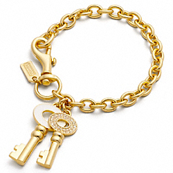 COACH COACH ENAMEL KEY CHARM BRACELET - ONE COLOR - F95443