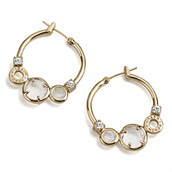 COACH KRISTIN STONE HOOP EARRINGS - ONE COLOR - F95458