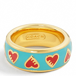 POPPY ENAMEL HEART RING COACH F95538