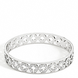 COACH HALF INCH PIERCED OP ART PAVE BANGLE - SILVER/CLEAR - F95565