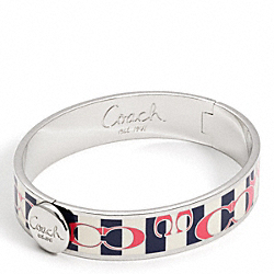COACH HALF INCH HINGED POPPY STRIPE BANGLE - ONE COLOR - F95575