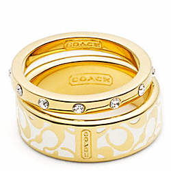 COACH ENAMEL SIGNATURE RING SET - ONE COLOR - F95586