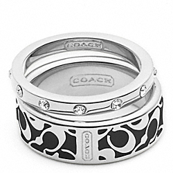 ENAMEL SIGNATURE RING SET COACH F95586