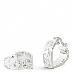 COACH STERLING PAVE OP ART HUGGIE EARRINGS - ONE COLOR - F95665