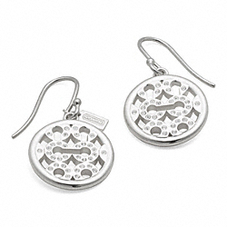 COACH STERLING PAVE OP ART DISC EARRINGS - ONE COLOR - F95669