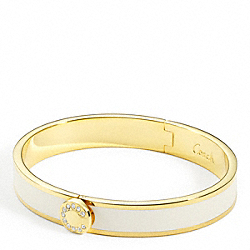 THIN OP ART PAVE HINGED BANGLE - f95688 - 24689