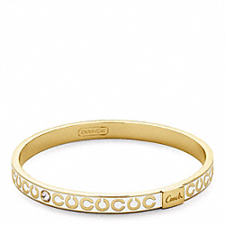 THIN OP ART RHINESTONE BANGLE - f95692 - GOLD/WHITE