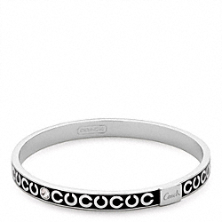 THIN OP ART RHINESTONE BANGLE - f95692 - SILVER/BLACK