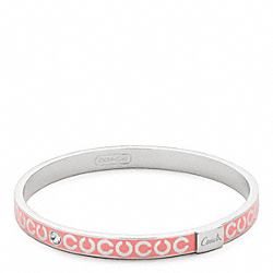 COACH THIN OP ART RHINESTONE BANGLE - SILVER/CORAL - F95692