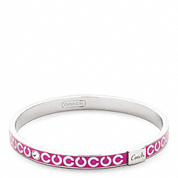 COACH THIN OP ART RHINESTONE BANGLE - SILVER/PINK - F95692