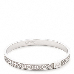 THIN OP ART RHINESTONE BANGLE - f95692 - SILVER/SILVER