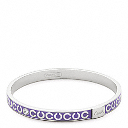 COACH THIN OP ART RHINESTONE BANGLE - SILVER/VIOLET - F95692