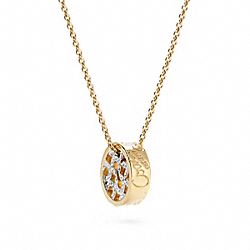 OP ART PAVE DISC NECKLACE COACH F95725