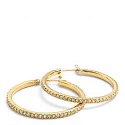 COACH PAVE HOOP EARRINGS - GOLD/LIGHT GOLD - F95791